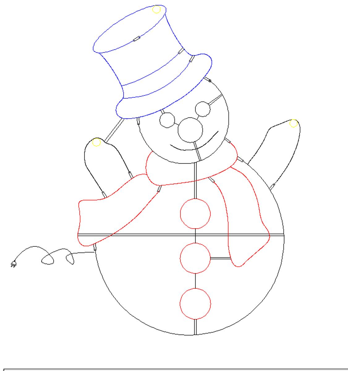 Snømann 120x80 cm kaldhvit