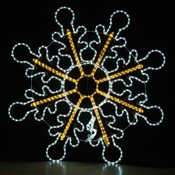 Bilde av Ekstra stort snøfnugg 120x120 cm - statisk lys - varmhvit og hvi